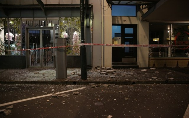 Broken glass in Wakefield Street in Wellington.