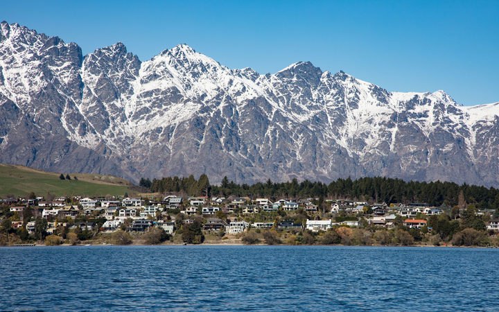 Queenstown, south island, new zealand looking over Lake Wakatipu with the remarkables in the distance.