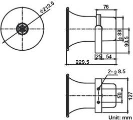 SHOW TC15AH 15W 100V LINE HORN SPEAKER IP66 ALUMINIUM U