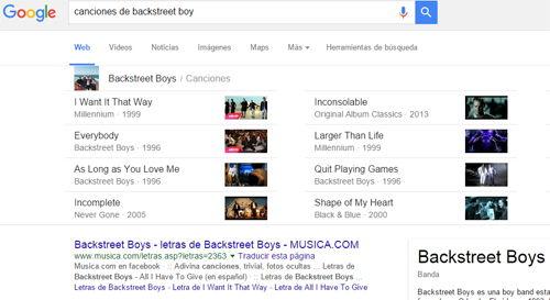 Truco de Google: Búsquedas de canciones