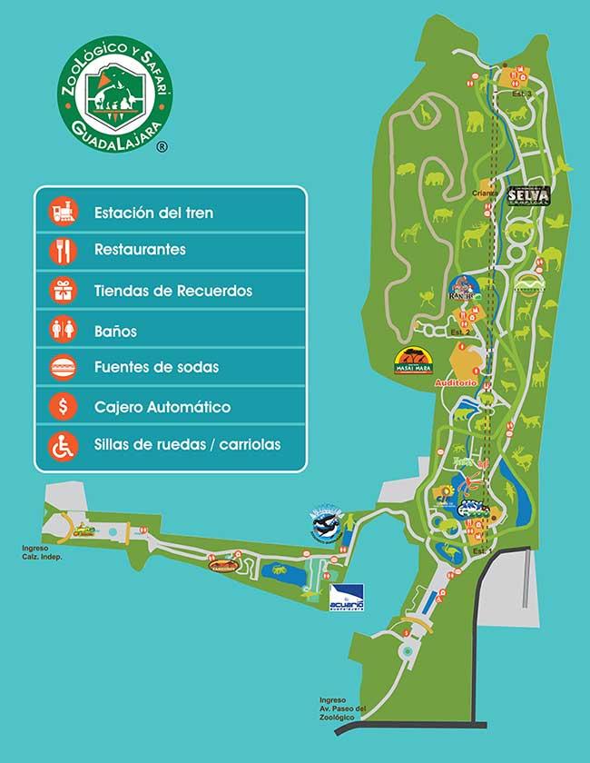 Mapa del zoológico de Guadalajara