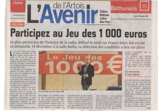 jeux 1000 euros douvrin presse