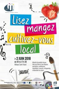 """Affiche événement médiathèque d'Arras - 2 juin 2018 - """"Lisez,mangez, cultivez-vous local"""""""