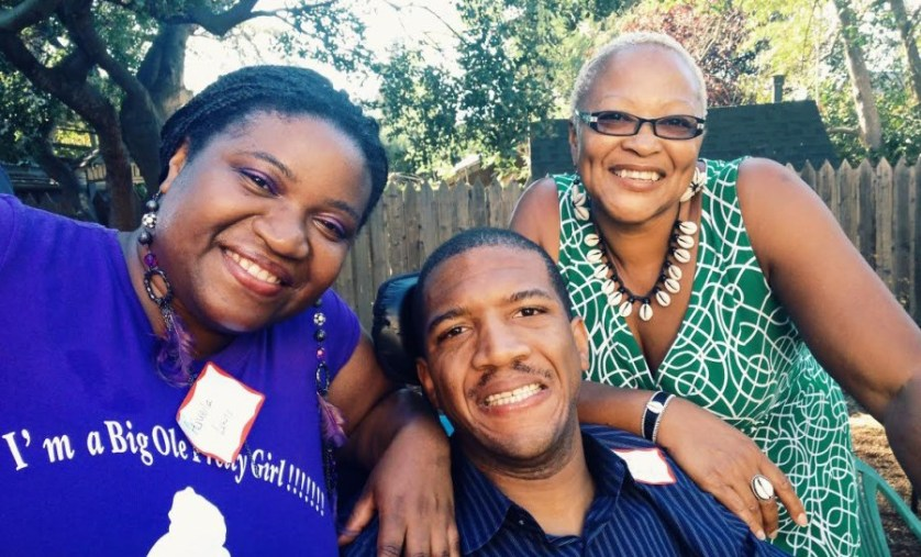 Making Contact's inaugural class of Community Storytelling Fellows Aqueila Lewis, Lateef McLeod and Rochelle Robinson.