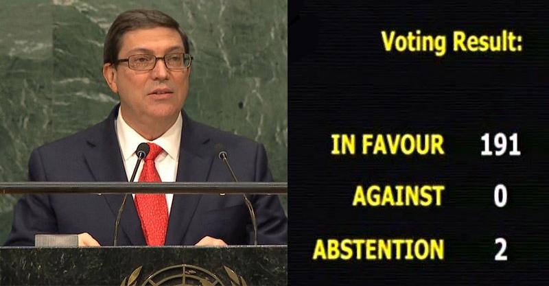 """Votación 2016. Proyecto de resolución """"Necesidad de poner fin al bloqueo económico, comercial y financiero de Estados Unidos de América contra Cuba""""."""