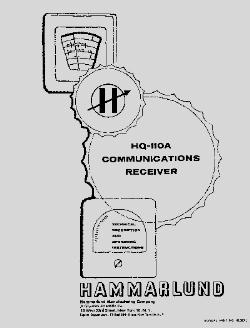 Hammarlund HQ-110A manual w/ VHF addendum »R²