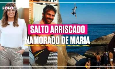 Namorado de Maria Botelho Moniz faz salto arriscado.