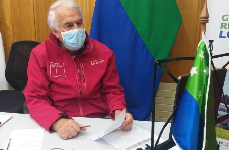 Intendente Harry Jurgensen en una de las constantes videoconferencias que sostiene a diario Foto: Gentileza Coico Brown)