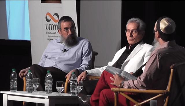 Ser judío en el siglo XXI, con Marcos Aguinis y los rabinos Tzvi Grunblatt y Eliezer Shemtov (Punta del Este, Uruguay, 11/1/2015)