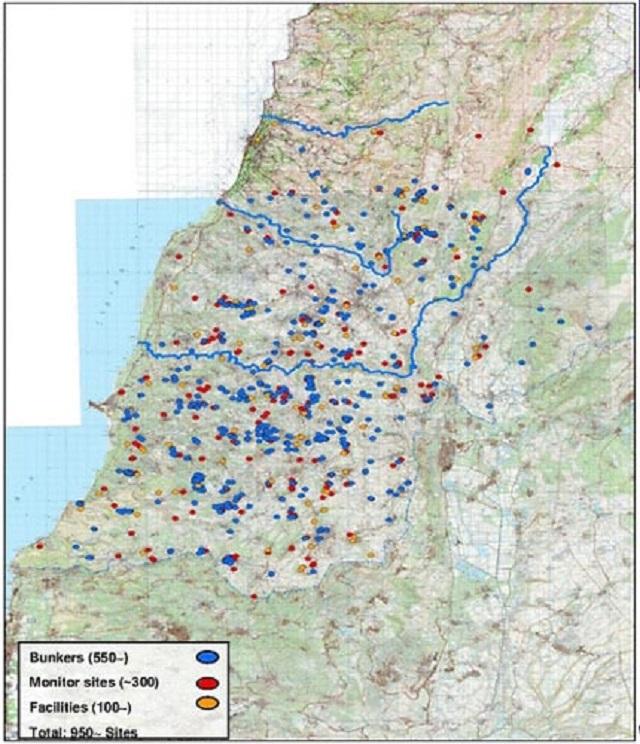 Israel presenta un mapa con el despliegue bélico de Hezbolá