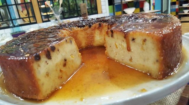 Cazuela de pescado y flan o puding de naranja