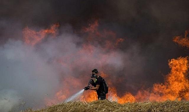 Fuego de cometas gazatíes en Israel