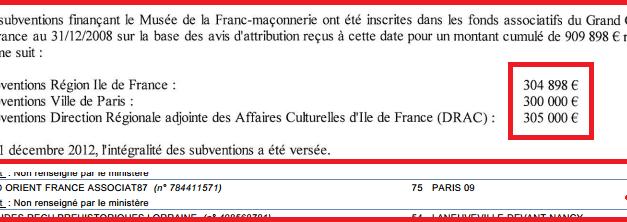 La massoneria del Grande Oriente di Francia riceve 900 mila euro di finanziamenti pubblici in due anni [PROVE]