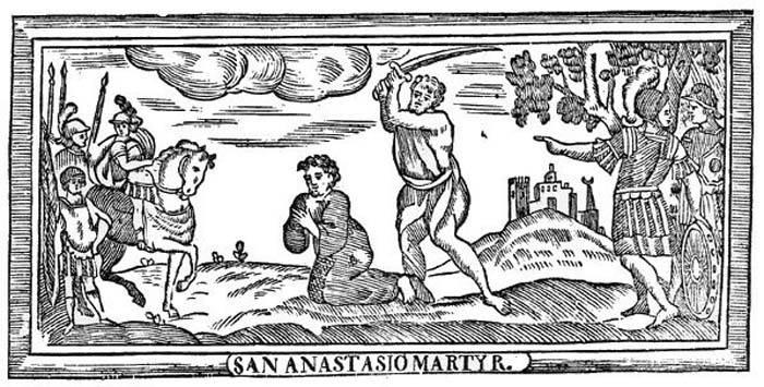Sant'Anastasio (Patriarca d'Antiochia) mutilato e arso dagli ebrei