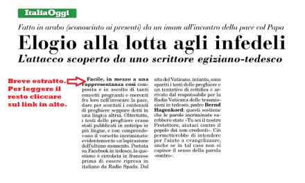 Il quotidiano Italia Oggi cita Radio Spada sulla questione ecumenismo-lotta agli infedeli