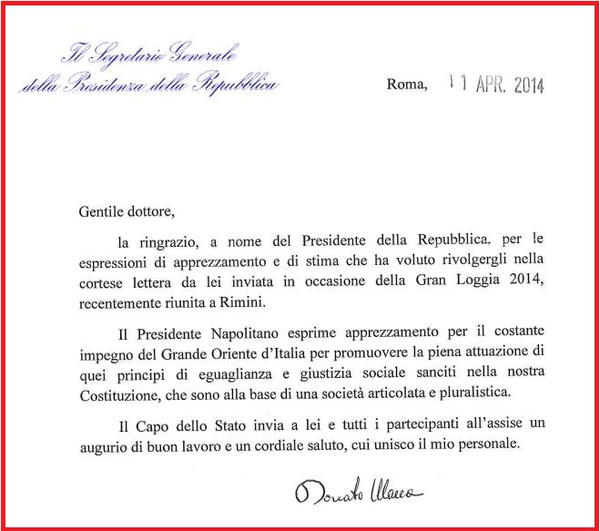 Lettere Di Lavoro: Napolitano Nomina Cavaliere Di Gran Croce Un Massone