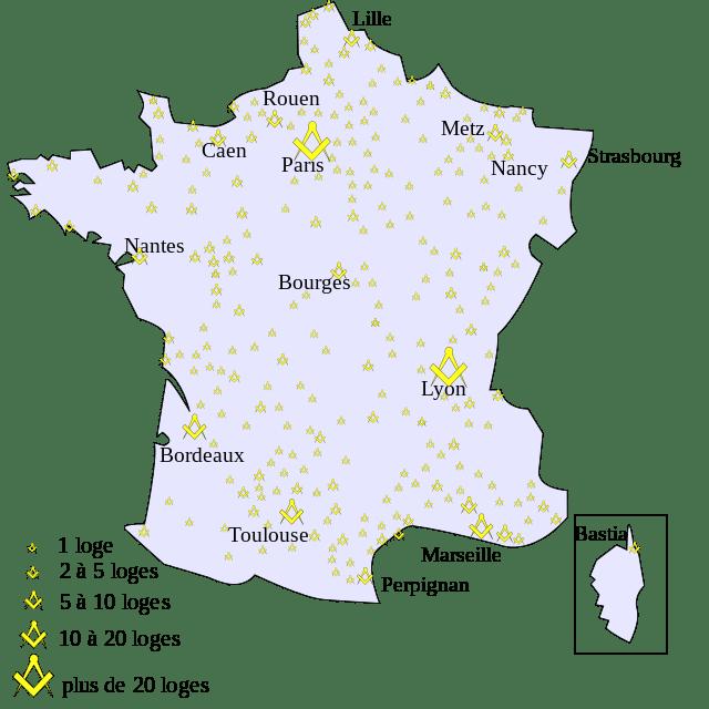 Mappa delle logge massoniche francesi nel 1789