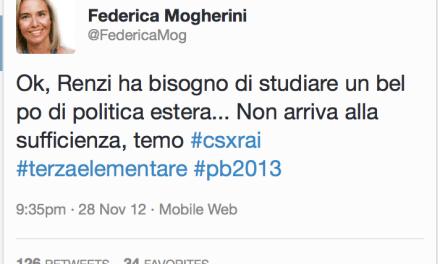 """Quando la Mogherini – neo Lady PESC – diceva che Renzi era """"da terza elementare"""""""