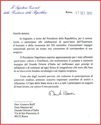 Napolitano insiste: 4 telegrammi alla massoneria in meno di un anno