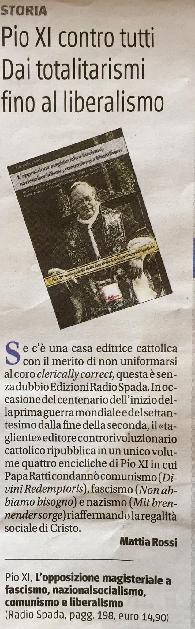 [EDIZIONI RADIO SPADA] Su Il Giornale, Mattia Rossi recensisce 'L'opposizione magisteriale a fascismo, nazionalsocialismo, liberalismo e comunismo'
