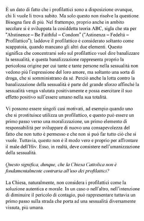 J. Ratzinger: prostituto e profilattico, primo passo verso la moralizzazione