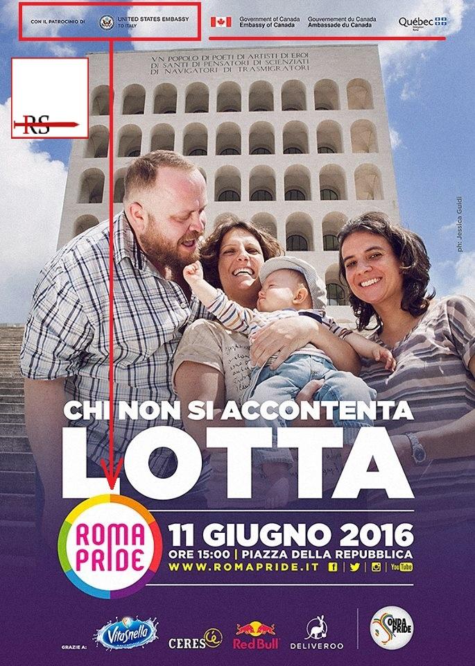 Le ambasciate di USA e Canada patrocinano ufficialmente il 'gay pride' a Roma