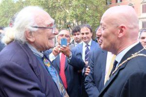 Pannella con il Gran Maestro Bisi a Porta Pia il 20 Settembre 2015
