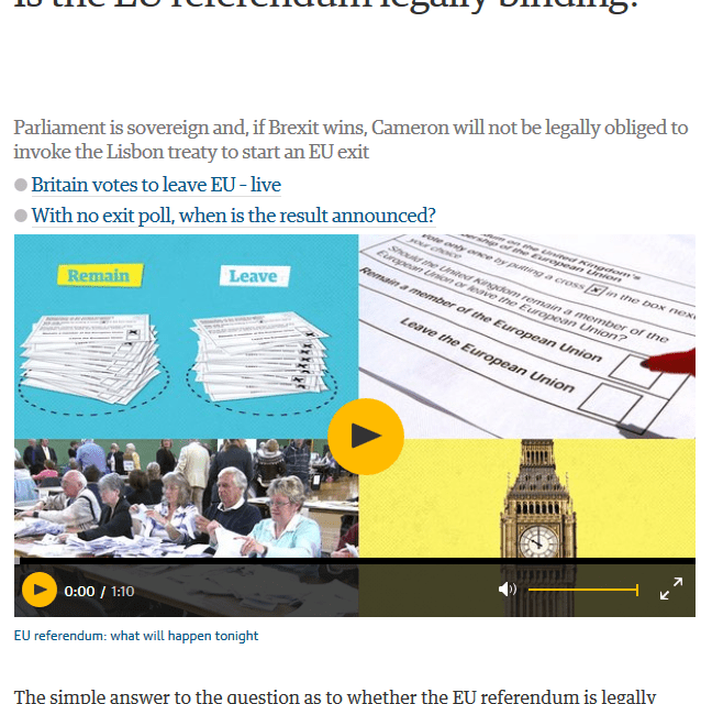 Radio Spada – Info BREXIT n. 3: 'The Guardian' arriva a ipotizzare che parlamento britannico possa ignorare referendum