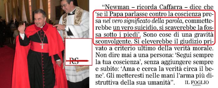 Caffarra rilancia citando Newman: 'se Papa parla contro coscienza si scava fossa sotto i piedi', 'Amoris Laetitia crea grande confusione'