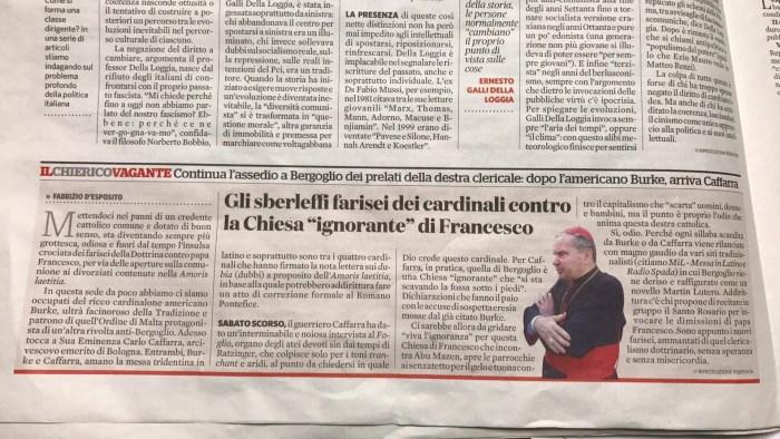 """Il Fatto Quotidiano attacca Radio Spada definendola """"farisaica"""" per le critiche a Bergoglio"""