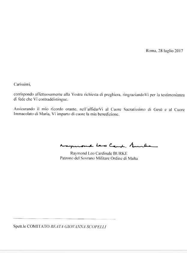 [RIMINI 29 LUGLIO] Benedizione del Card. Burke alla Processione del Comitato BGS!