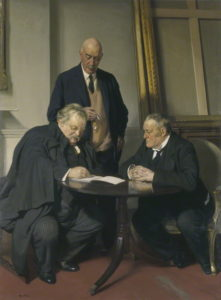 NPG 3654; Conversation piece (G.K. Chesterton; Maurice Baring; Hilaire Belloc) by Sir James Gunn