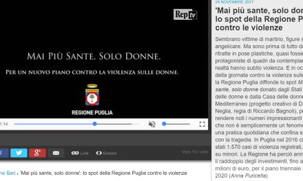 Lo spot blasfemo di Regione Puglia contro la violenza sulle donne