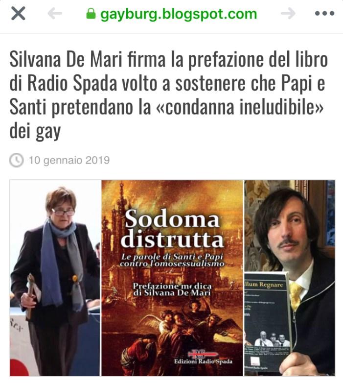 Gayburg attacca Radio Spada per il suo ultimo libro (Sodoma distrutta) con prefazione di Silvana De Mari