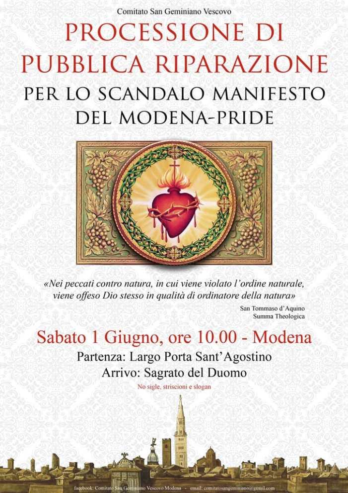Processione di riparazione il 1° giugno a Modena per il gay pride