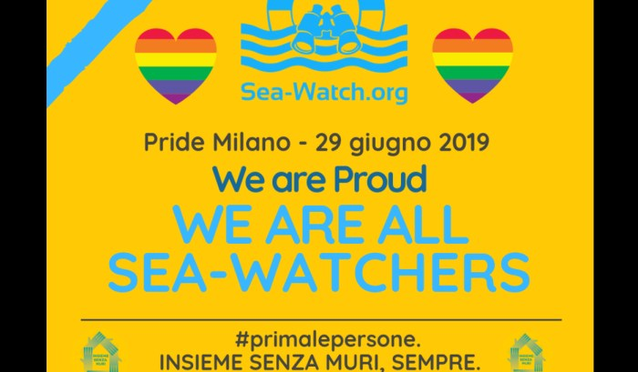 "Milano Pride, carro ""migranti Lgbt"": ""Indossate nastro azzurro per supportare Sea Watch"""