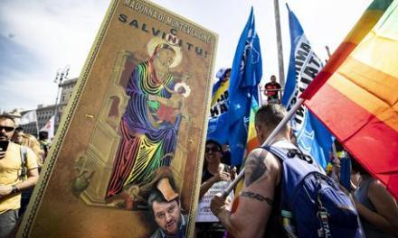 Immagine blasfema della Madonna al Pride romano.