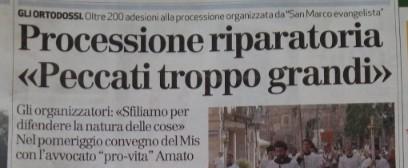 Giornale di Vicenza: oltre 200 a processione. Comitato: trionfo soprannaturale ma posizione diocesi scandalosa