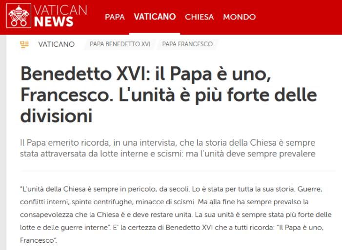 Conferme: Ratzinger riconosce Bergoglio come Papa