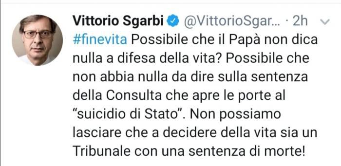 Persino il liberale Sgarbi sconcertato per il silenzio di Francesco sull'eutanasia