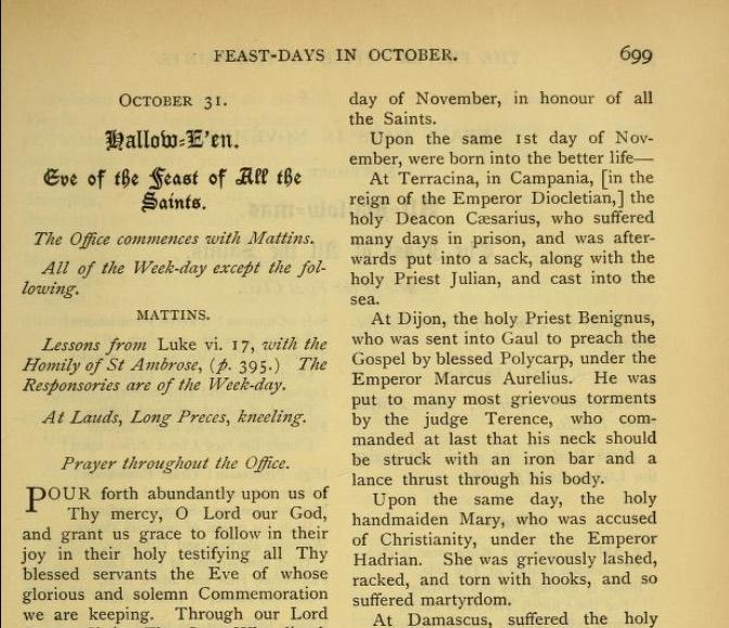"""""""Halloween"""" nei libri liturgici tradizionali pre-1955"""