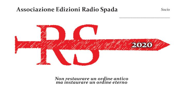 Si apre ufficialmente il Tesseramento 2020 per Radio Spada