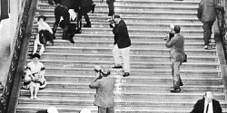 Students being dragged down the stairs during the May 1960 HUAC protests [source: foundsf.org]