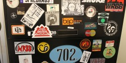Stickers at college radio station WRBB