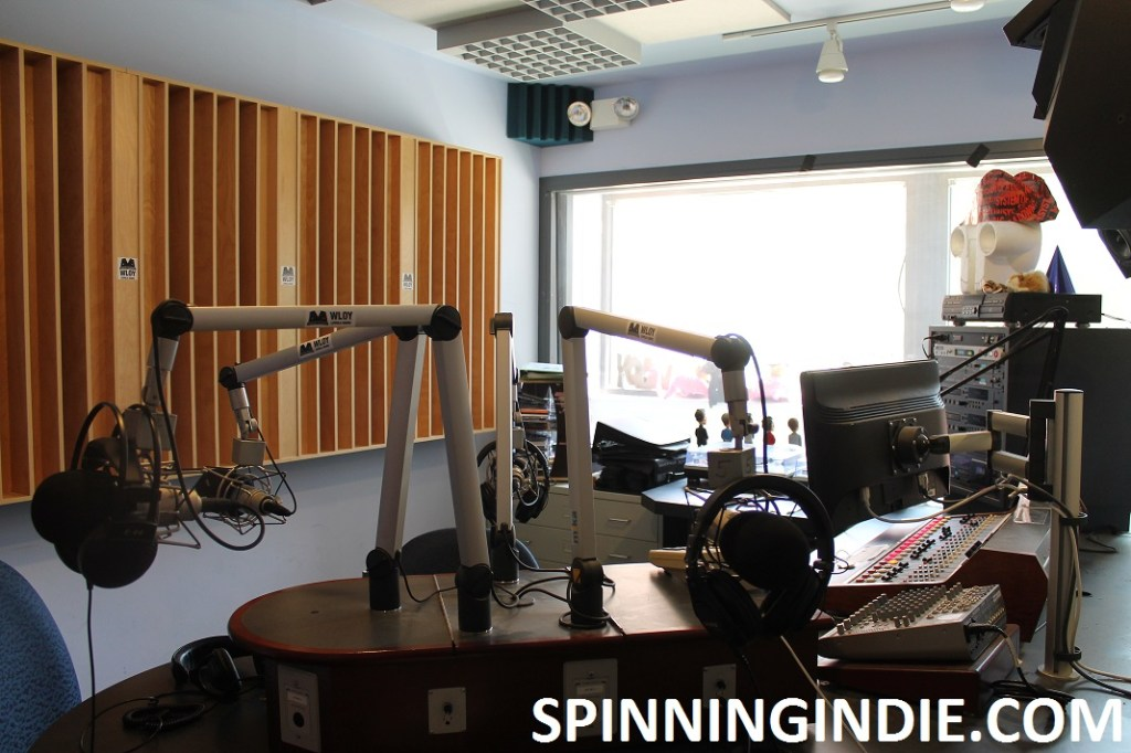 on-air studio at college radio station WLOY