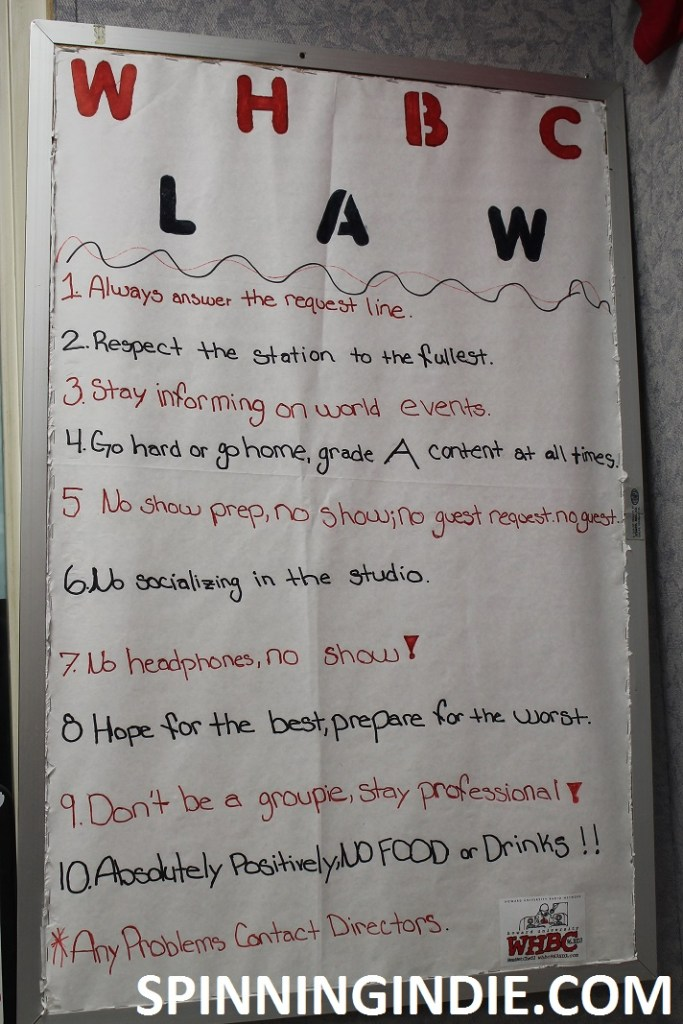 list of rules at college radio station WHBC