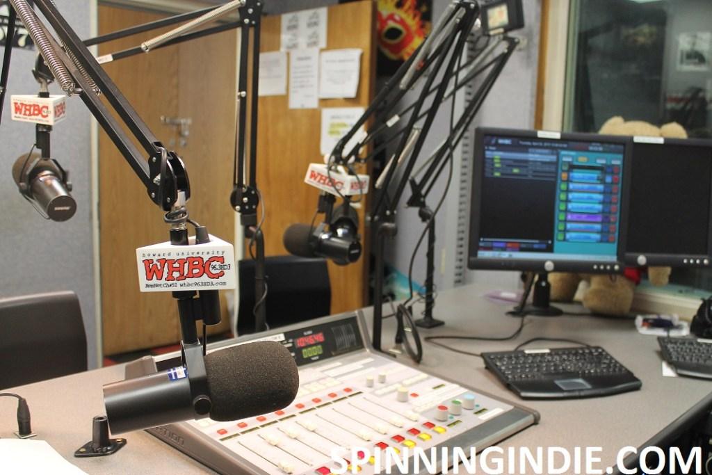 on-air studio at college radio station WHBC
