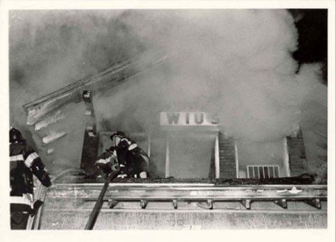 college radio station WIUS on fire October 10, 1972