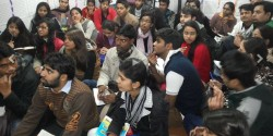 Student recruits at Delhi Community Radio.