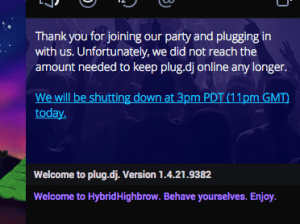 Plug.dj shutdown notice.